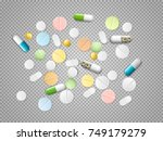 set of vector realistic pills... | Shutterstock .eps vector #749179279