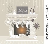 christmas decorating  ... | Shutterstock .eps vector #749180374
