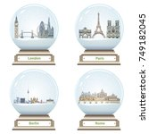 vector snow globes with london  ... | Shutterstock .eps vector #749182045