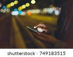 online internet concept  girl... | Shutterstock . vector #749183515
