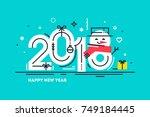 happy 2018 new year flat thin...   Shutterstock .eps vector #749184445