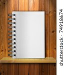 Blank White Note Book on Wood Shelf - stock photo