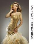 elegant blonde beauty posing in ... | Shutterstock . vector #74918764