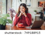 asian business girl working and ... | Shutterstock . vector #749188915