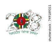 2018 happy new year dominica... | Shutterstock .eps vector #749189311