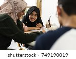 a group of muslim students | Shutterstock . vector #749190019