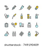 pills related medical color... | Shutterstock . vector #749190409