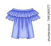 off the shoulder blue blouse... | Shutterstock .eps vector #749190577