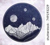 hand drawn extraterrestrial... | Shutterstock .eps vector #749193229