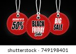 black friday sales tag on black ... | Shutterstock . vector #749198401