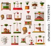 flat icons set of 3d printing ... | Shutterstock .eps vector #749199619