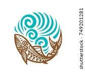 tribal fish wave illustration | Shutterstock .eps vector #749201281