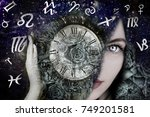 woman and zodiac signs | Shutterstock . vector #749201581