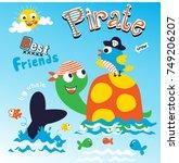 pirate best friends animal... | Shutterstock .eps vector #749206207