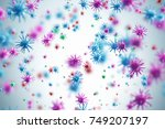 pink and blue viruses and... | Shutterstock . vector #749207197