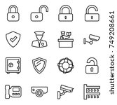 thin line icon set   lock ... | Shutterstock .eps vector #749208661