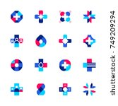 set of abstract medical or... | Shutterstock .eps vector #749209294