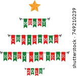 christmas bunting flags  | Shutterstock . vector #749210239