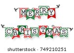 christmas bunting flags  | Shutterstock .eps vector #749210251