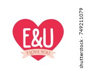 e and u letter inside heart for ... | Shutterstock .eps vector #749211079