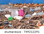 plastic and glass bottles...   Shutterstock . vector #749212291