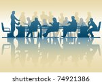 Editable vector silhouette of people in a meeting with reflection - stock vector