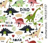 seamless pattern with cute... | Shutterstock .eps vector #749219737