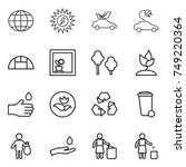 thin line icon set   globe  sun ... | Shutterstock .eps vector #749220364