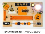 colorful busy board as best toy ... | Shutterstock . vector #749221699