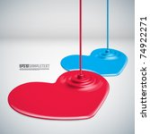 Vector Paints Dripping Hearts