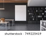 open space office interior with ... | Shutterstock . vector #749225419