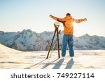 young professional skier at...   Shutterstock . vector #749227114