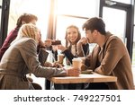man showing something on a...   Shutterstock . vector #749227501