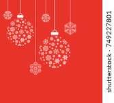 christmas balls and snowflakes. ... | Shutterstock .eps vector #749227801