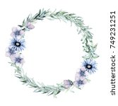 watercolor leaves wreath. hand... | Shutterstock . vector #749231251