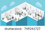 flat 3d isometric abstract... | Shutterstock .eps vector #749241727