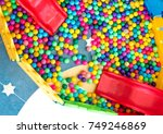 colorful plastic ball and the... | Shutterstock . vector #749246869