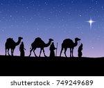 three old orient magi following ... | Shutterstock .eps vector #749249689