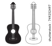 guitar icon  silhouette  line... | Shutterstock .eps vector #749252497