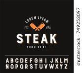 steak logo vintage style... | Shutterstock .eps vector #749253097