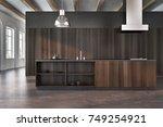 modern kitchen interior with... | Shutterstock . vector #749254921