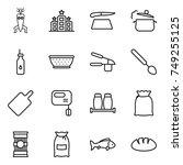 thin line icon set   dna modify ... | Shutterstock .eps vector #749255125