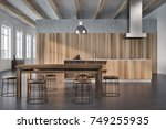 dining room interior with... | Shutterstock . vector #749255935