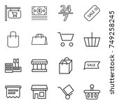 thin line icon set   shop... | Shutterstock .eps vector #749258245