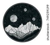 hand drawn extraterrestrial...   Shutterstock .eps vector #749259199