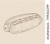 hot dog. hand drawn sketch on... | Shutterstock .eps vector #749261299