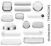 white buttons. glass icons and... | Shutterstock .eps vector #749261341