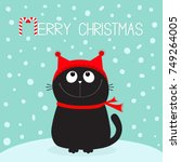 merry christmas candy cane text.... | Shutterstock .eps vector #749264005