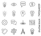 thin line icon set   bulb  eye  ... | Shutterstock .eps vector #749264059