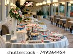 delicious wedding reception... | Shutterstock . vector #749264434